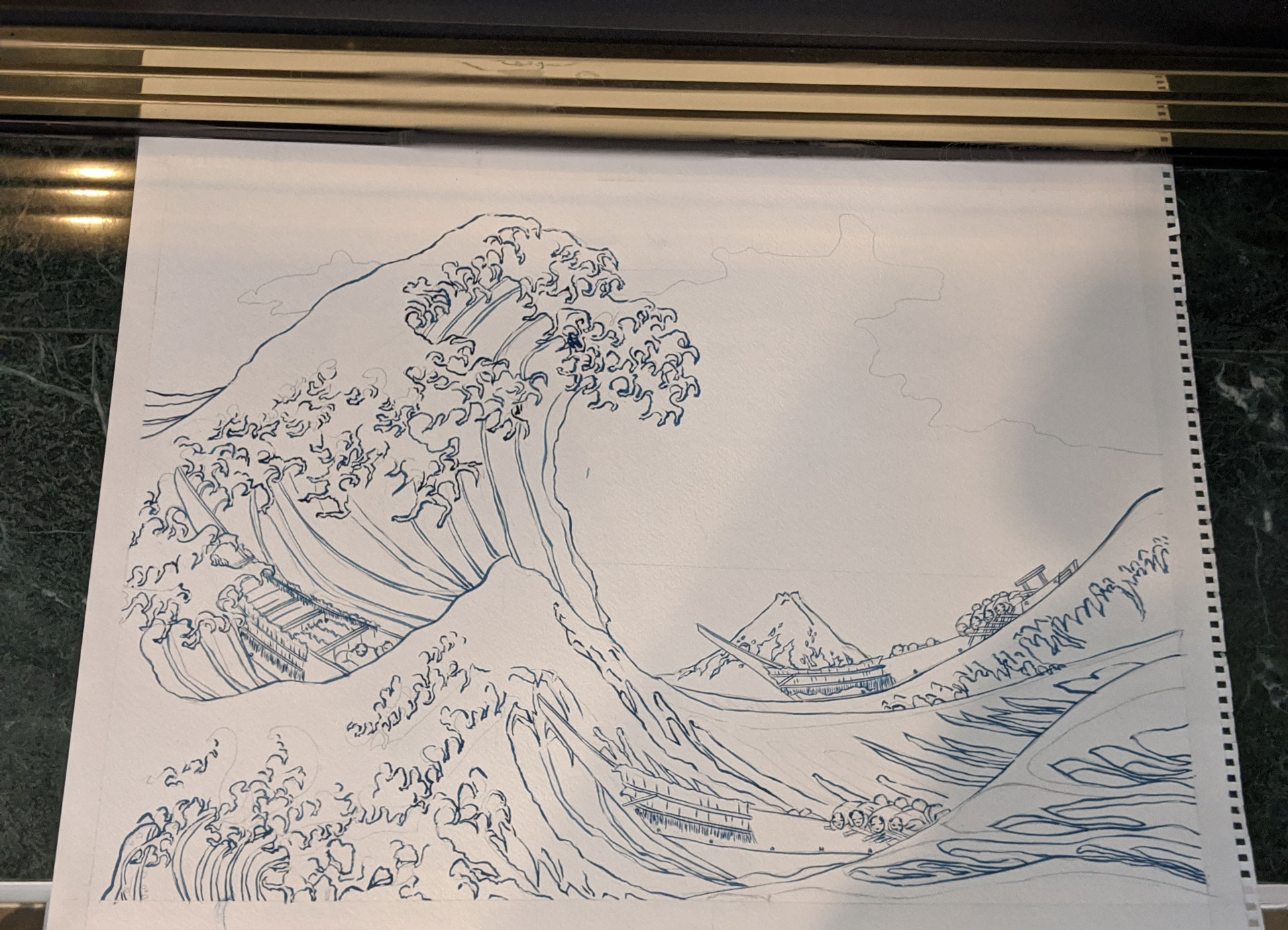 The Great Wave off Kanagawa Watercolor by Fan Stanbrough