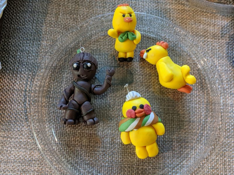 Polymer Clay Groot and Duck