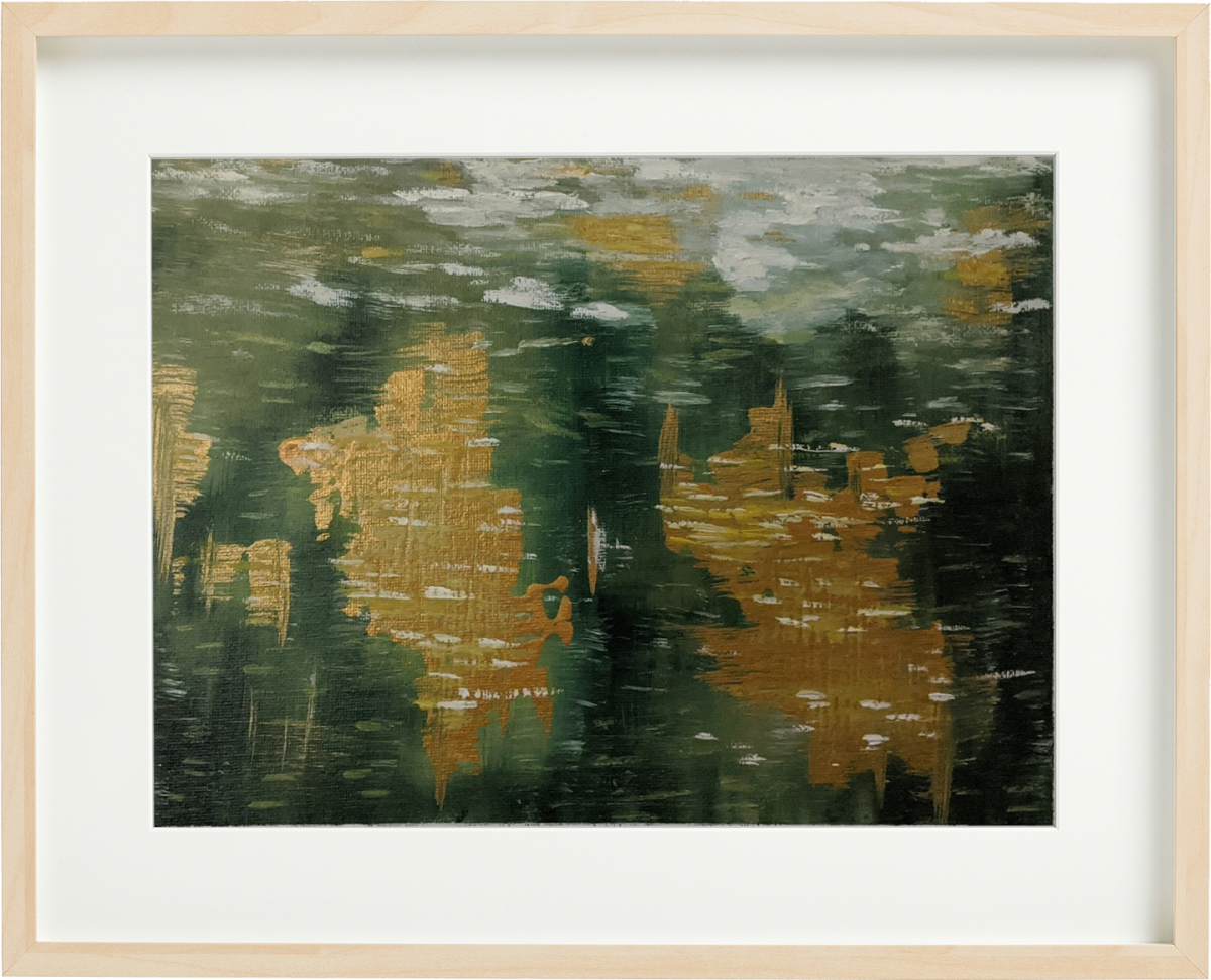 Lake reflection abstract painting by Fan Stanbrough