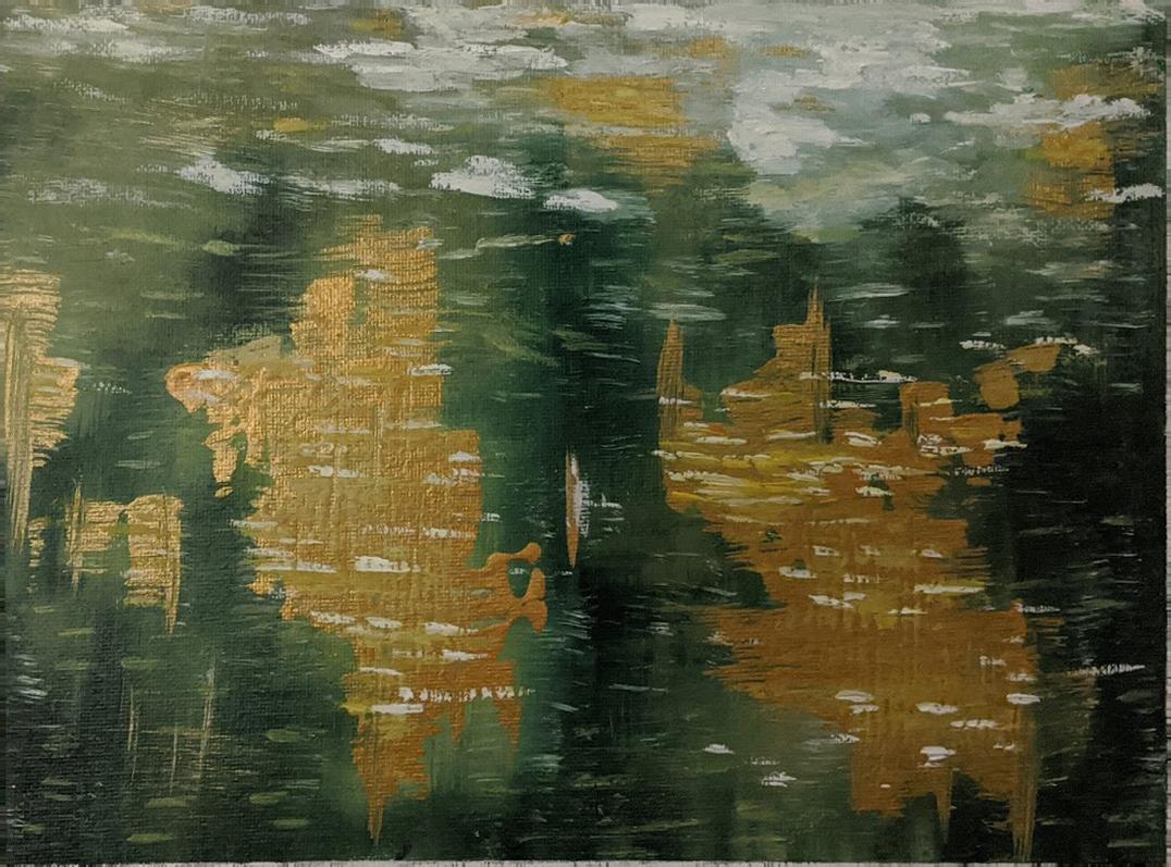 Lake reflection abstract painting