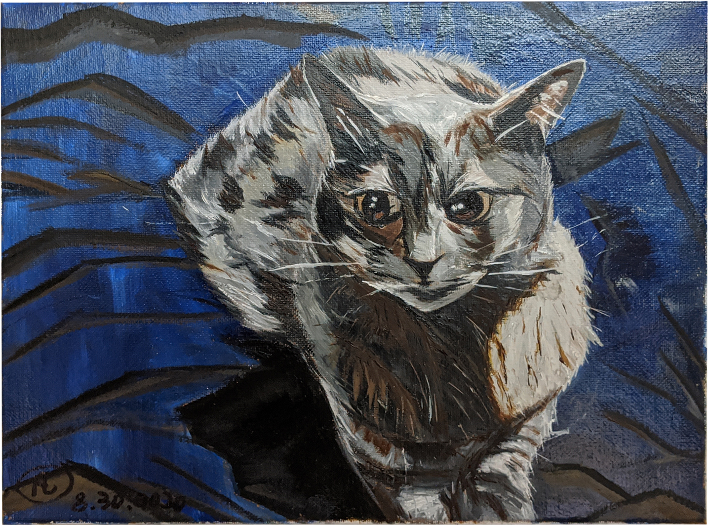 Xiao Kitty Oil painting canvas size 11″ x 15.5″