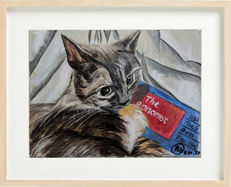 Cat Oil painting canvas size 11″ x 15.5″ By Fan Stanbrough