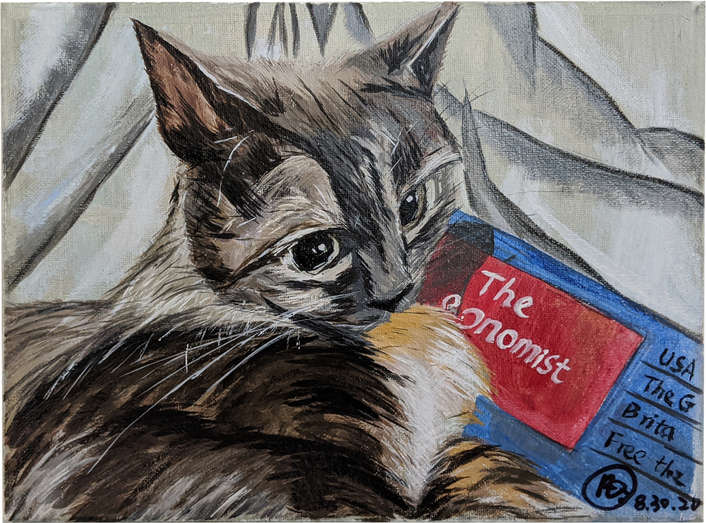 Cat Oil painting canvas size 11″ x 15.5″