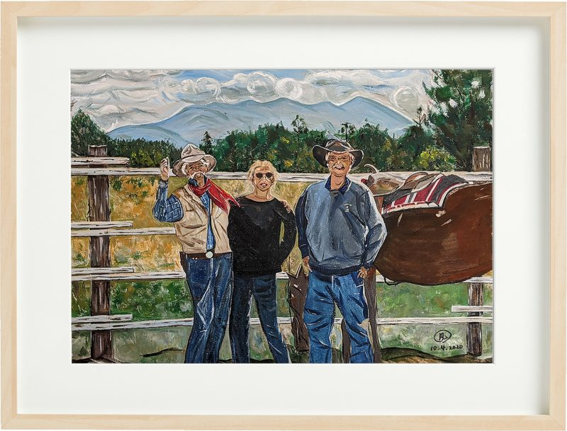 Friends in Telluride, Colorado, oil painting by Fan Stanbrough canvas size 17″ x 23.5″