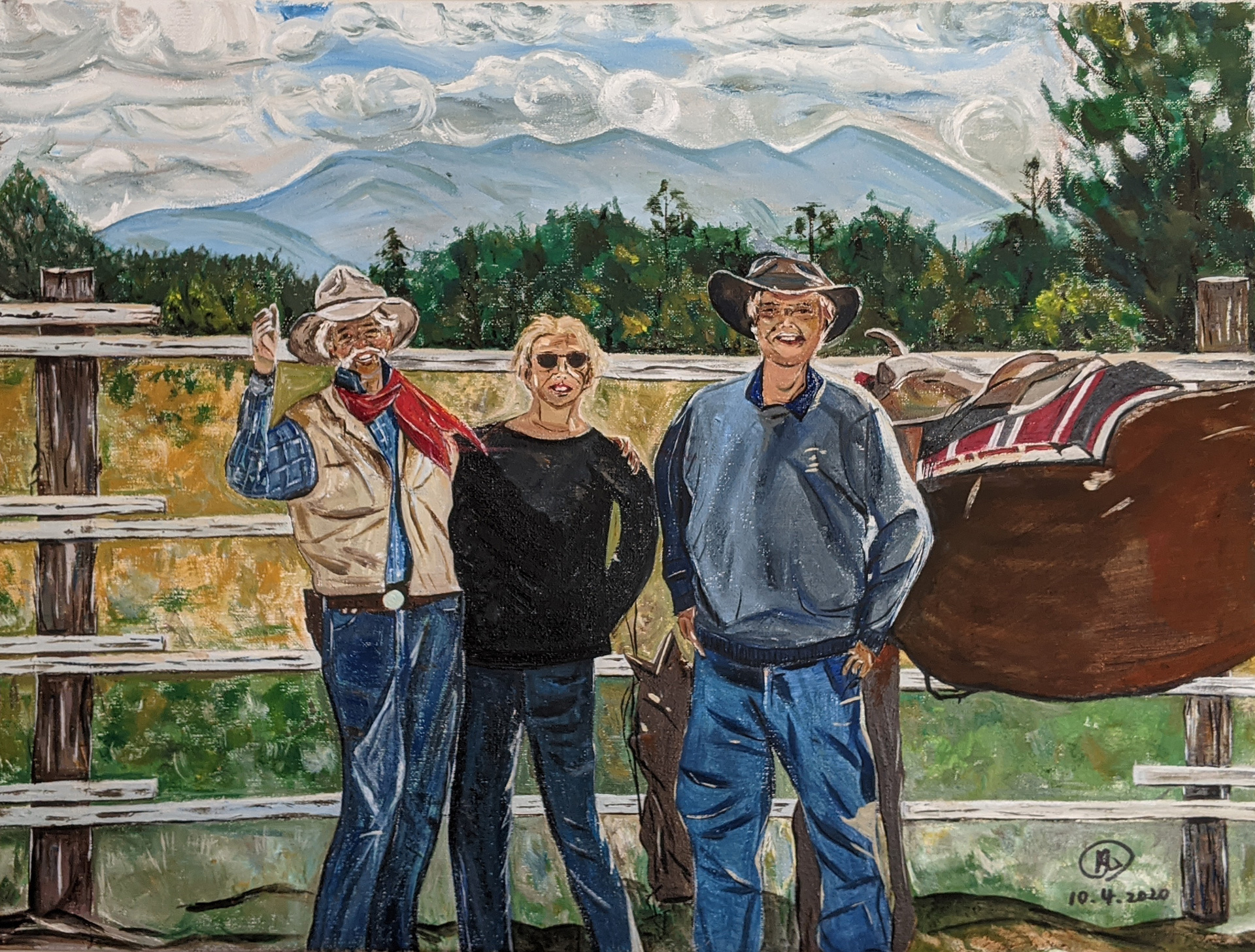Friends in Telluride, Colorado Oil painting canvas size 17″ x 23.5″