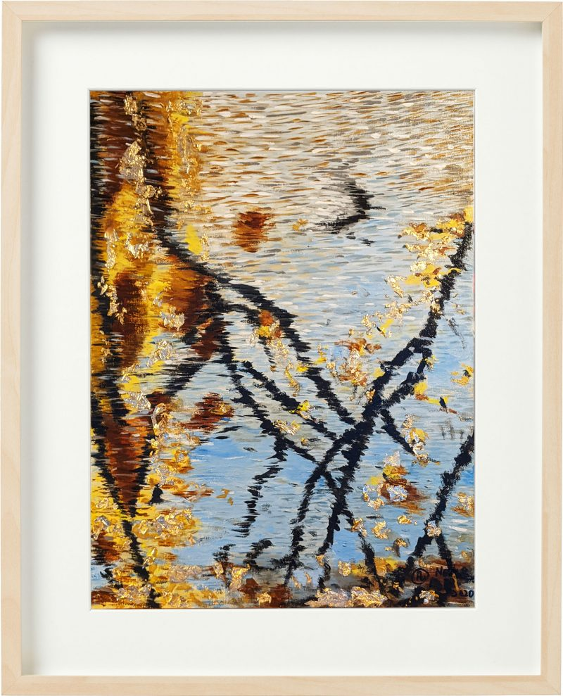 Reflection of the Fall Gold leaf sheets, oil painting by Fan Stanbrough