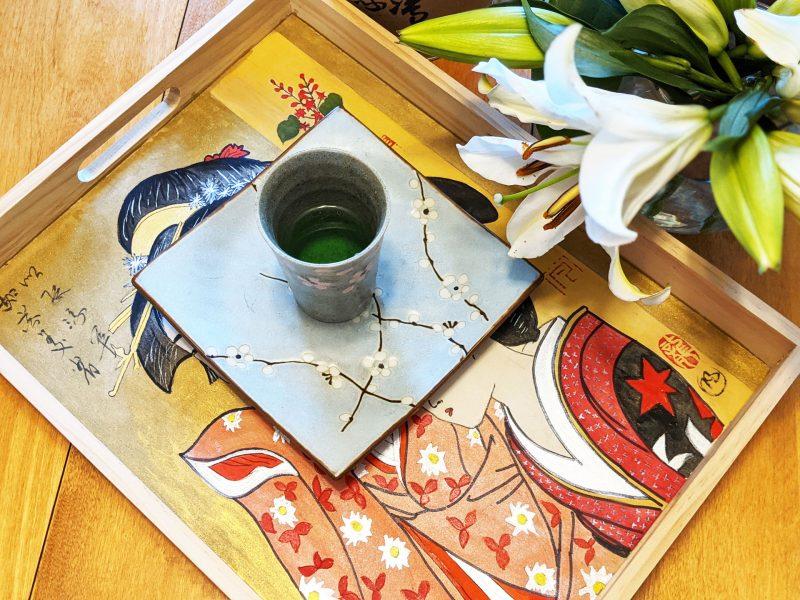Watercolor Ukiyo-e on A Wood Tray