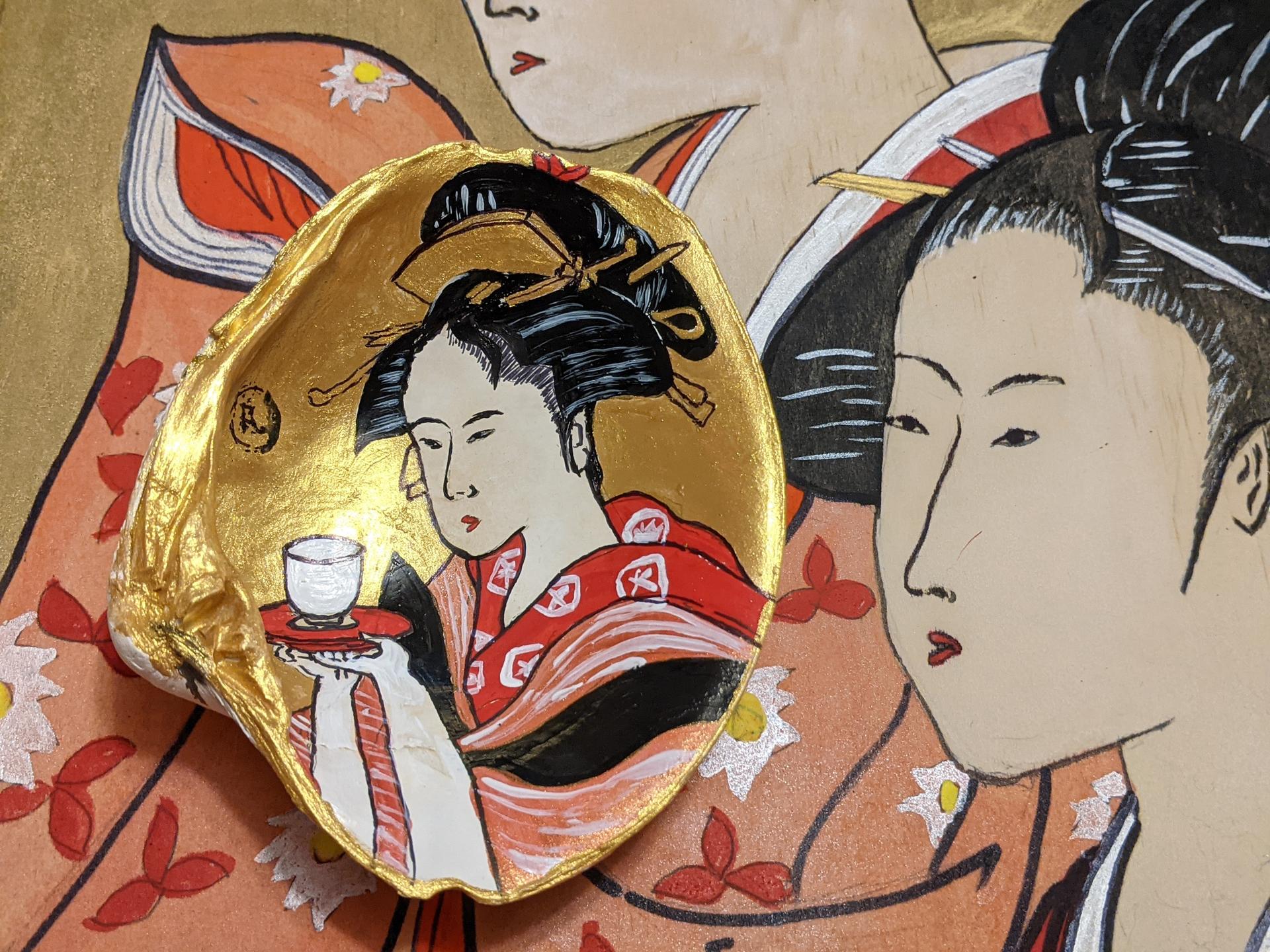 Japanese ukiyo-e Beauty in a Clam Shell