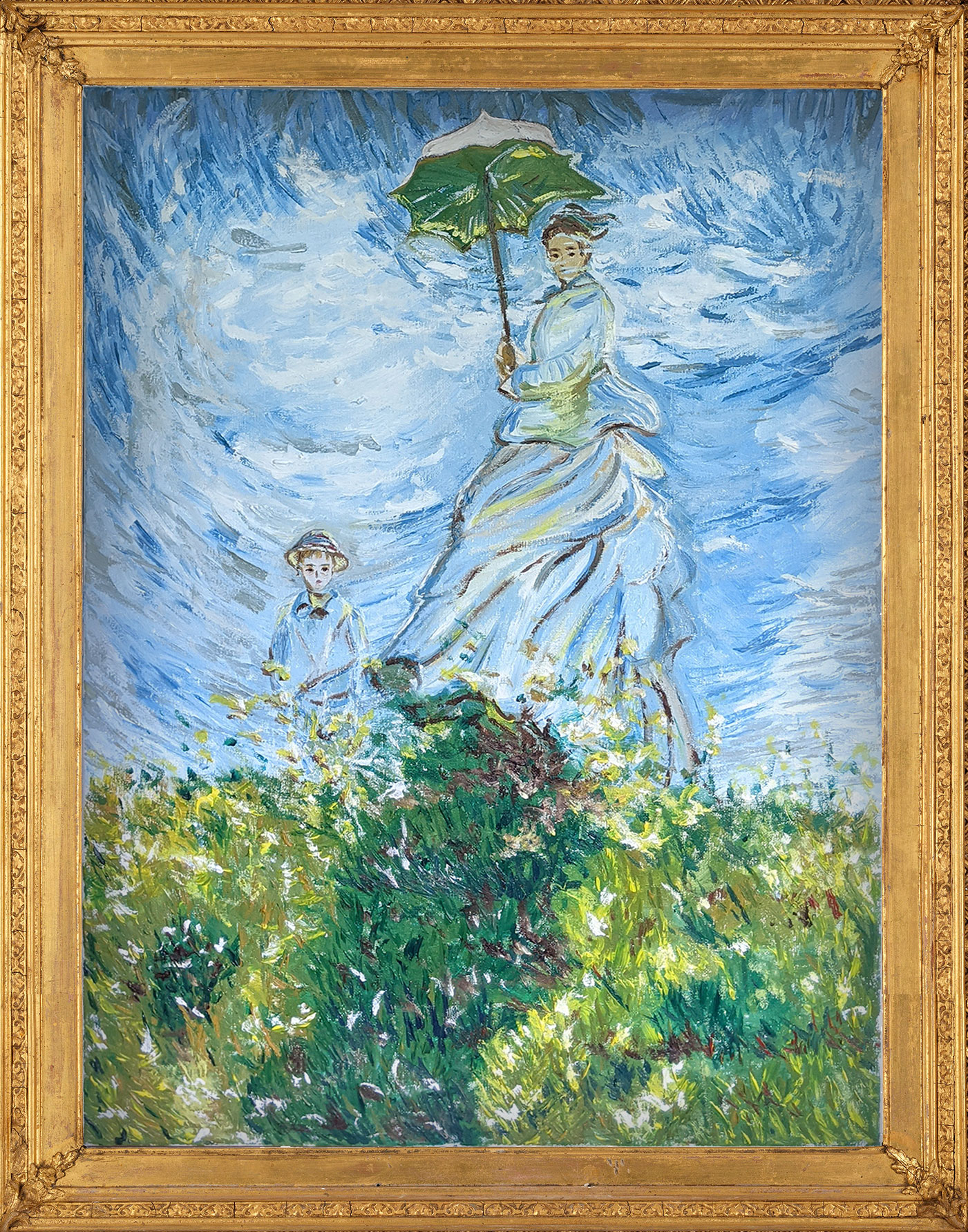Woman with a Parasol – Madame Monet and Her Son Reproduction by Fan Stanbrough